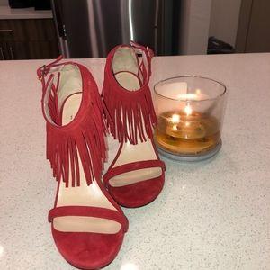 Red Fringe Stuart Weitzman Heel Size 5.5